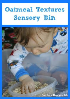 Super Easy Sensory Play:  Oatmeal Textures Sensory Bin from Fun at Home with Kids