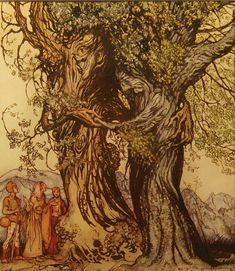 """I am old Philemon!"" murmured the oak. ""I am old Baucis!"" murmured the linden-tree - A Wonder Book by Nathaniel Hawthorne, 1922"