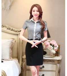 Summer Fashion 2 Piece Sets Women Suits with Skirt and Top Sets Grey Blouse & Shirts Formal Ladies Office Uniform Styles OL