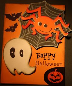 Jettescraftcorner: Not sooo scary Halloween card Used Materials:- Hal... Halloween Cards, Scary Halloween, Black Card, Card Stock, Snoopy, Stickers, Blog, Fictional Characters, Art