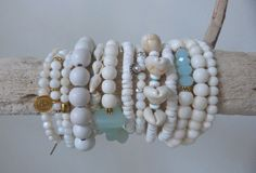 white mermaid stack - ivory bone crystal puka shell beads - stretch bracelets - boho - beach wedding