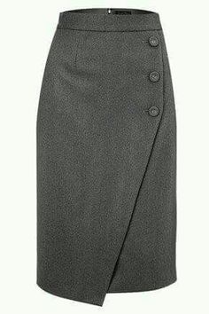Asymmetrical skirt with front button. Work Skirts, Cute Skirts, Skirt Pants, Dress Skirt, Vetement Fashion, Work Attire, Mode Inspiration, Sewing Clothes, Skirt Outfits