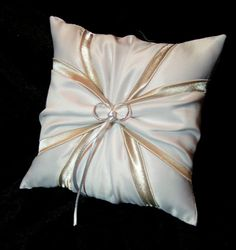 Use coupon code PINITFREESHIP for FREE shipping! White or Ivory, Champagne Accent  Wedding Ring Bearer Pillow by Jessicasdaydream