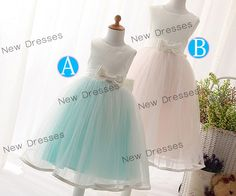 A-line Cute Ivory Satin/Tulle Blue/Pink lining Skirt Flower Girl/Baby Girl Dress with Bows and Sash