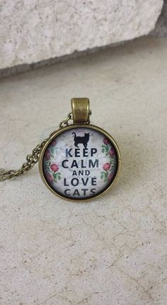 Keep Calm and Love Cats Glass Dome Bronze Pendant Necklace, Black Cat Necklace, Cat Pendant, Wiccan Pendant Necklace, Witches Cat Necklace by YaYaHippieEmporium on Etsy