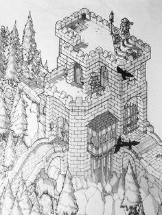 isometric drawing by Spencer Chopp, via Behance