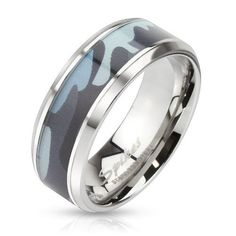 8mm Blue Camouflage Inlay Stainless Steel Beveled Edge Band Ring