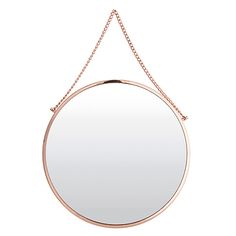 Stylish copper finish hanging mirror Chrome steel with copper finish 38cm diameter