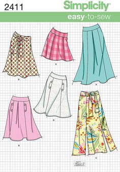 Womens easy to sew skirt Sewing Pattern 2411 Simplicity
