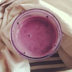 This simple blueberry green smoothie is full of nutrients like protein and also easy when you're on the move. Photo: POPSUGAR Fitness
