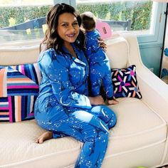 Mindy Kaling gives fans a rare glimpse into 'lazy Sundays' with one-year-old daughter Katherine Mindy Kaling Instagram, Matching Pjs, Surprise Baby, The Mindy Project, New York Times Magazine, Pregnant Celebrities, Michelle Pfeiffer, Kids Z, Mommy Style