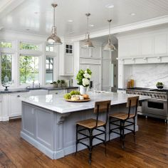 White Kitchen Gray Island Design Ideas, Pictures, Remodel and Decor