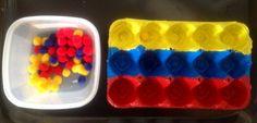 Tri de pompons : les couleurs primaires  + http://lesmercredisjolis.com/2014/11/25/activites-pour-les-enfants-trier-les-couleurs/   version avec 6 boîtes de couleurs différentes