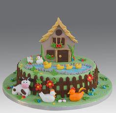 Farm Cake by Gellyscakes, via Flickr Grandma Birthday Cakes, Farm Birthday Cakes, Birthday Cake Girls, Fondant Cake Designs, Fondant Cakes, Cupcake Cakes, Barnyard Cake, Farm Cake, Birthday Cake Decorating