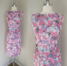 1960s Dress Pink & Purple Flowered Dress from by GeekGirlRetro
