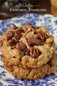 Toffee Cowboy Cookies - an old classic treat with a few fun twists,  these delicious cookies are loaded with chocolate chips, sweet toffee bits and crisp toasted pecans.