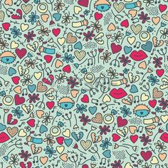 Romantic seamless pattern with lips.