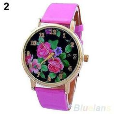 Fashion Genovia Quartz Crystal Women Ladies Girls Wrist Watch Pink 434