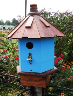 Birdhouse Cottage Seaside Blue Wooden Shake Roof by BeeGracious, $90.00