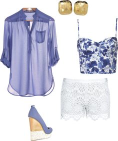 outfit: white / blue floral-printed thin-strapped cropped corset singlet, blue 3/4-sleeved sheer pocketed buttoned blouse, white lace minishorts, gold square studs, blue / gold / white platform wedges
