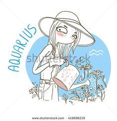 Zodiac signs Aquarius. Vector illustration of the girl.