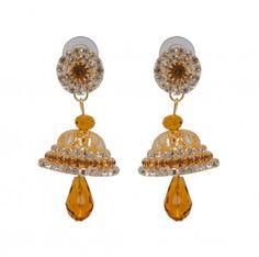 Indian #Fashion Golden Beads Jhumka #Earring #wholesale #collection #fancy #love #gift #giftforher @eindiawholesale
