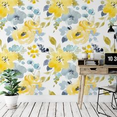 Watercolor Yellow Floral Removable Wallpaper, Peel and Stick, Self-Adhesive Reusable Wall Mural, Nur Blue Grey Wallpaper, Accent Wallpaper, Flower Wallpaper, Peel And Stick Wallpaper, Yellow Accent Walls, Accent Wall Bedroom, Bedroom Office, Bedroom Inspo, Room Decor