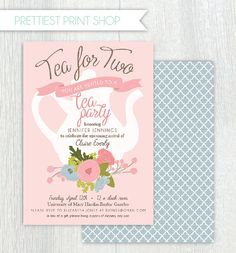 Printable tea party baby shower invitation - Tea pot - Floral - Shabby chic - Tea for two - Customizable