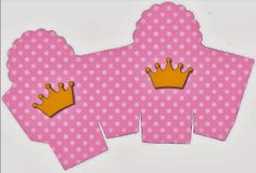 Coronas sobre fondo rosa: Cajas para Imprimir Gratis.
