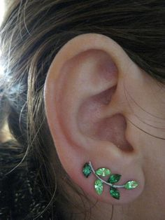 Ear Sweep Wrap Earring - with Swarovsky - Unique- The GREEN Nr4 | blucky - Jewelry on ArtFire