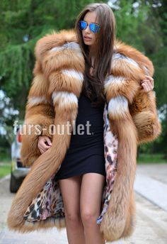 2017 GOLD ROYAL FOX FUR COAT HOOD CLASS CHINCHILLA SABLE MINK SILVER LONG JACKET