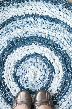 Nautical Blue Striped Fabric Crochet Rag Rug by ErinLynnDesigns, $115.00