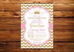Princess Invitation. Baby Girl First Birthday Invitation. Girl 1st birthday. Royal Princess Birthday. Baby Pink - Gold Glitter. by NiceStudioForYou on Etsy https://www.etsy.com/listing/485868661/princess-invitation-baby-girl-first