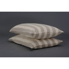 Set of 2 Large Striped Stonewashed Linen Pillowcases