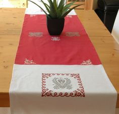 Hand painted table runner 100 linen lined with by CreationsNikki, $54.00 Table Dressing, Table Runners, Christmas Tree, Hand Painted, Holiday Decor, Painting, Home Decor, Teal Christmas Tree, Decoration Home