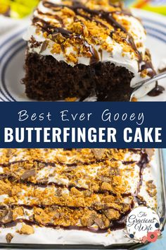 This rich, decadent, sweet Butterfinger cake is moist, irresistible, and so easy to make. A chocolate boxed cake mix is baked and then poked with fork tines before a sweet, gooey caramel and sweetened condensed milk is poured on top. Top with a light, fluffy whipped topping mixed with Butterfinger candy bars for the best, simple, quick, and easy dessert that everyone will love! Delicious Cake Recipes, Pound Cake Recipes, Cupcake Recipes, Yummy Cakes, Sweet Recipes, Baking Recipes, Bar Recipes, Yummy Food, Chocolate Box Cake