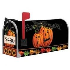 Halloween Magnetic Mailbox Cover w Street Numbers Mary Moore, Magnetic Mailbox Covers, Painted Mailboxes, Mailbox Numbers, Pintura Country, Happy Fall Y'all, Covered Boxes, Fall Halloween, Seasonal Decor