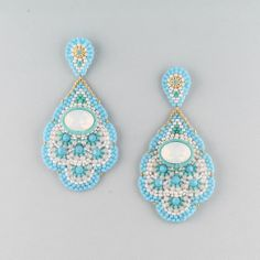 Turquoise, Swarovski and Miyuki Bead Drop Earrings, Miguel Ases Bead Earrings, Crochet Earrings, Diy Jewelry, Beaded Jewelry, Brick Stitch, Beading Tutorials, Bead Patterns, Loom Beading, Bead Weaving