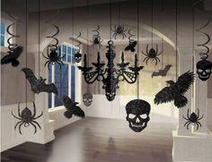Halloween-Chandelier-Spooky-Glitter-Paper-Ravens-Skulls- Spiders-Bats-Decorating #freeshipping  #halloween  #Chandelier Spooky
