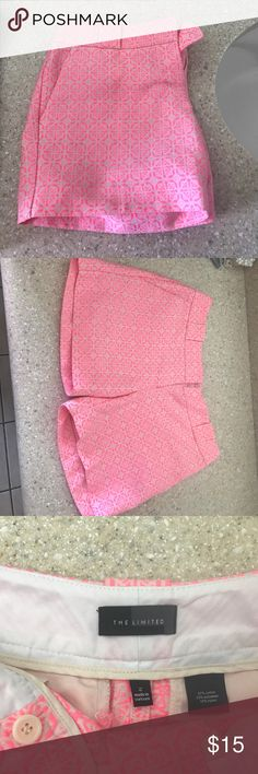Pink shorts and Navy and white Bermuda shorts The pink shorts are very cute! They are from the limited they are a size 2! The Bermuda shorts are navy and white patterned they are two petite but they did fit me like a regular size two. Both only worn once. Banana Republic Shorts Bermudas
