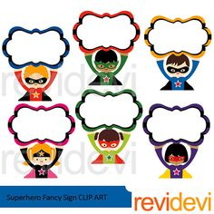 Superhero holding fancy sign clipart. Boys and girls. You will get 6 graphic in fun bold colors. Great for kids theme projects! Format files: CLIPARTS are in PNG (300 dpi, transparent background), and JPG (300 dpi, white background). Individual files/ separate files. Files are compress