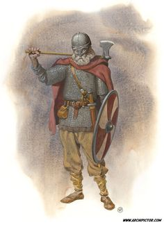 Viking with shirt of mail shield and axe ans spectacle helmet