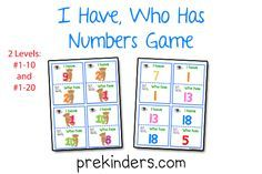 "A while back I made an ""I Have, Who Has"" Shapes Game, and I've had several requests to add more of these games. So today, I'm posting a Numbers version of the game. I made two levels of the game: one game has numbers 1-10 and the other game has numbers 1-20. This would be a …"