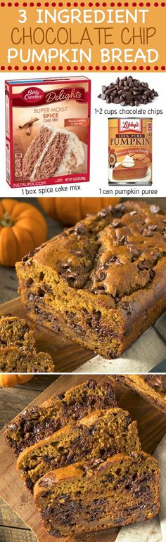 This easy and super moist chocolate chip pumpkin bread is made with just 3 simple ingredients! (cake mix, pumpkin puree and chocolate chips). It's my favorite easy pumpkin breakfast or snack recipe for Fall. Instrupix.com