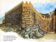 ART OF WAR: HEROES OF TROY AND MYCENAE - Detail from artist and historian Peter Connolly's illustration of the Lion Gate and protecting bastion.