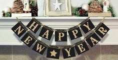 """QUICK SHIP!PHOTO PROP BANNER   MANTLE OR SHELF BANNERQuick Ship! This  banner is a beautiful addition to your New Year decor. The banner measures  approximately 5 feet long. The perfect size to hold for your special New Years photo or for a shelf or fireplace mantle!Each  piece is printed on extra heavy weight matte card stock, durable  enough to use year after year. Each  pennant measures 4"""" x 4"""" and includes twine for hanging.Each square is black w..."""