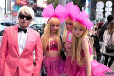 Ken & his Barbie dolls ... Halloween 2014, Shibuya, Tokyo. tons more photos here: https://www.flickr.com/photos/tokyofashion/sets/72157648605936290/    31 October 2014   #couples #Fashion #Harajuku (原宿) #Shibuya (渋谷) #Tokyo (東京) #Japan (日本)