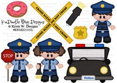 Lil Police Kids  Original Artwork by Kristi W Designs  www.kadoodlebugdesigns.com