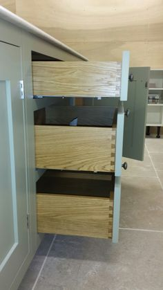 Solid oak drawer boxes with dovetail joints