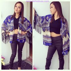 Kimono? Yes, please! Kimonos are a great way to add a great accent to all outfits! Check it out with a crop top! www.lamodusa.com